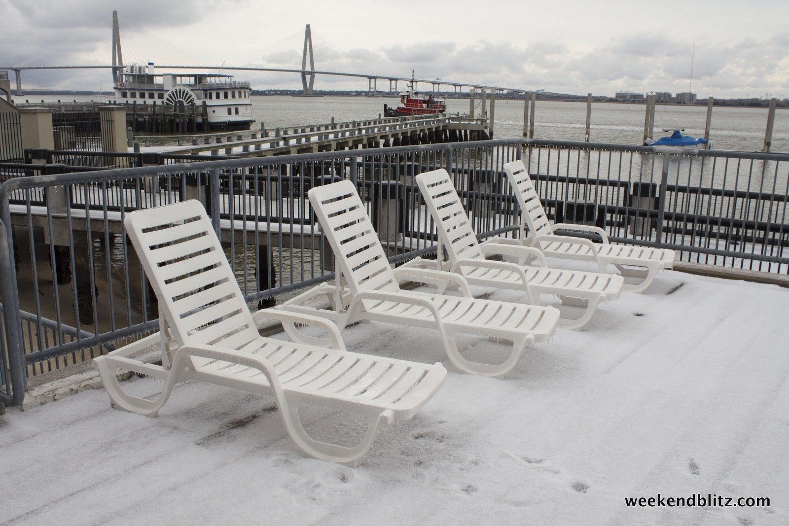 No bronzin' going on today -- from Dockside Condos over looking Charleston Harbor and Ravenel Bridge