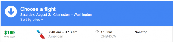 The flight to Washington is a non-stop from CHS-DCA, this won't work