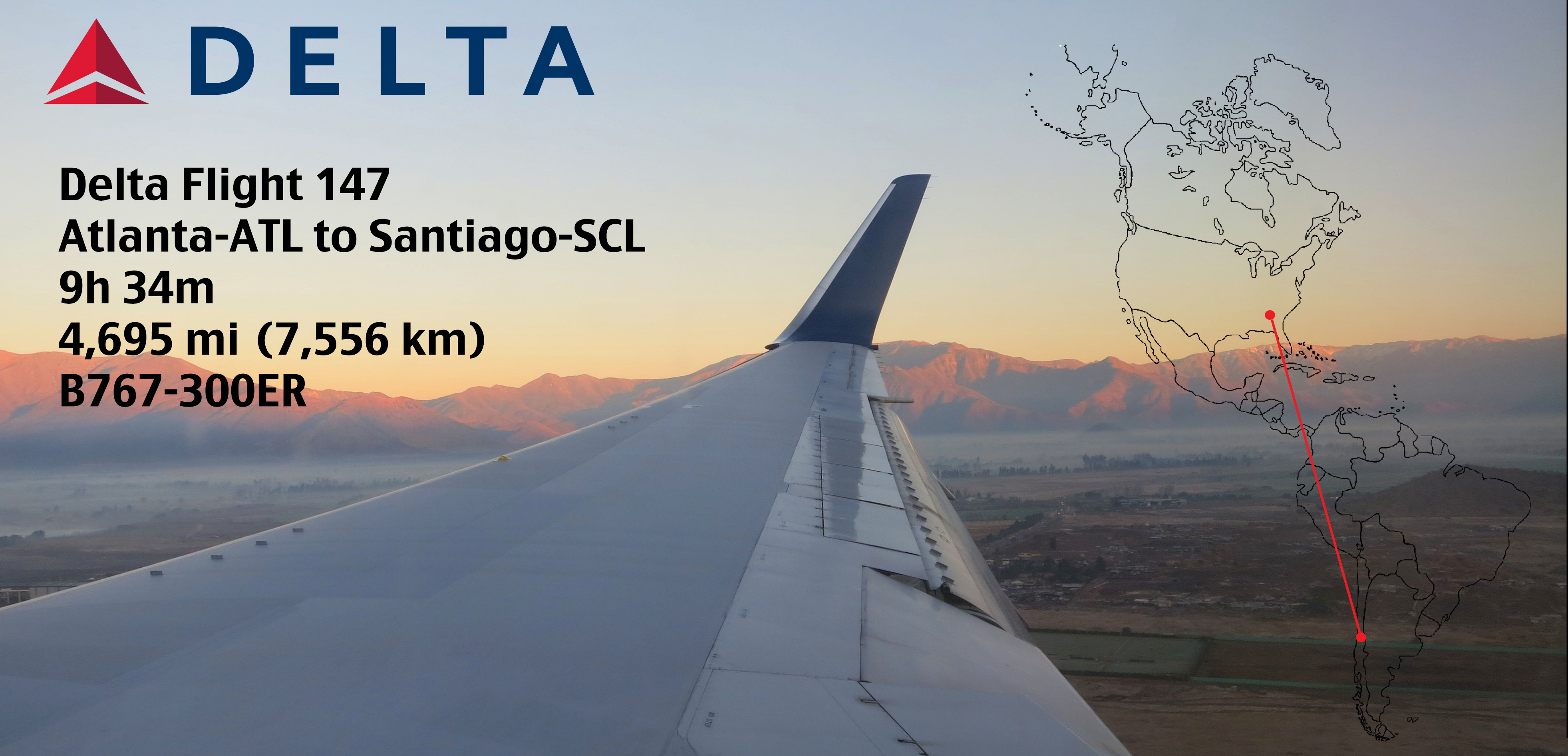 Delta Flight 147 – Atlanta-ATL to Santiago-SCL – B767-300ER ...