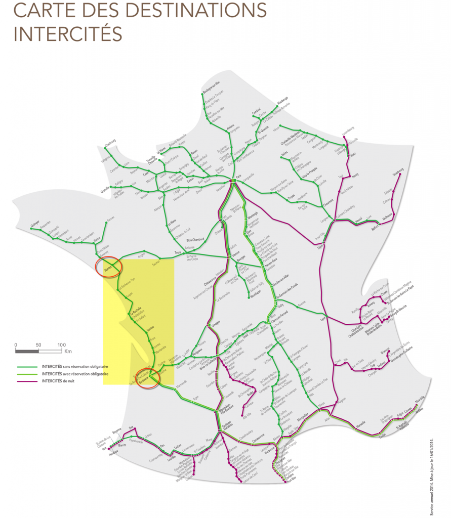 The stretch we took from Bordeaux-Nantes is highlighted