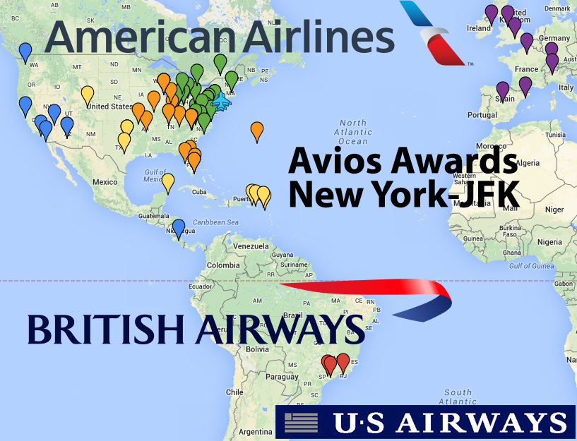 american airlines us airways flights using british airways avios out of new york nyc