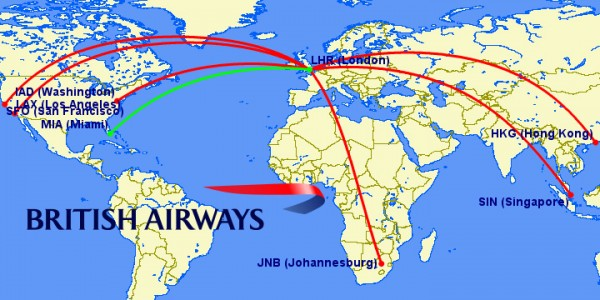 british airways a380 routes