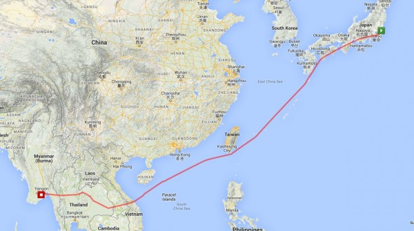 Our route as captured by my GPS, interesting that we seem to completely avoid Chinese airspace