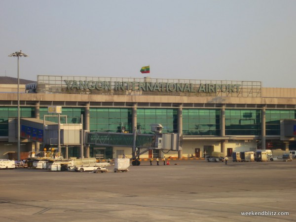 The newer terminal at Yangon International Airport