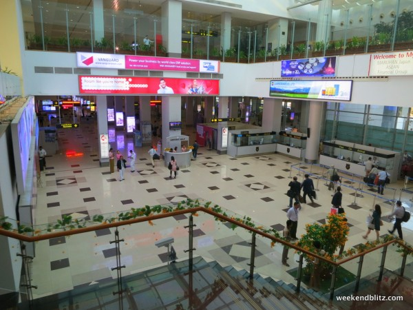 Yangon arrivals area, immigration is just beyond this point