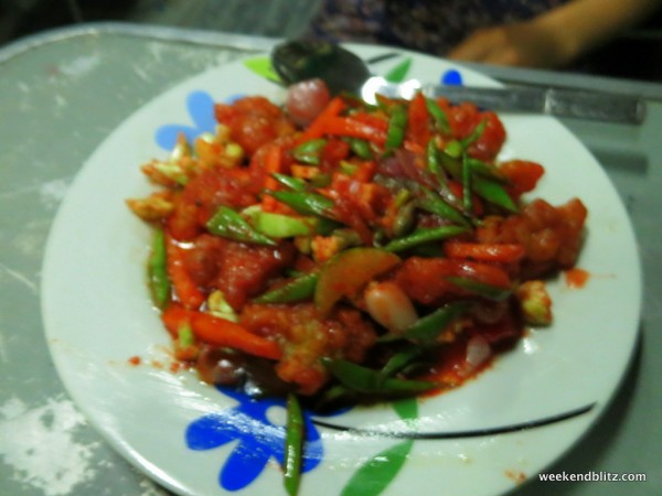 """Sour and Spicy Chicken"" appx 3,000 kyat (~$3 USD)"