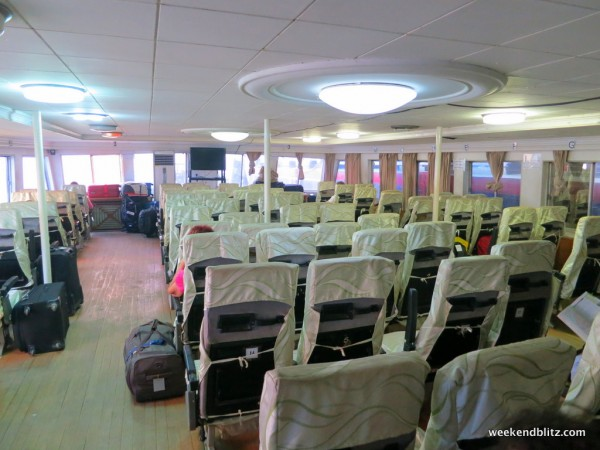 Air conditioned cabin on the first deck. All passengers have a reserved seat here.