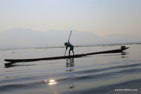 An Intha fisherman on Inle Lake