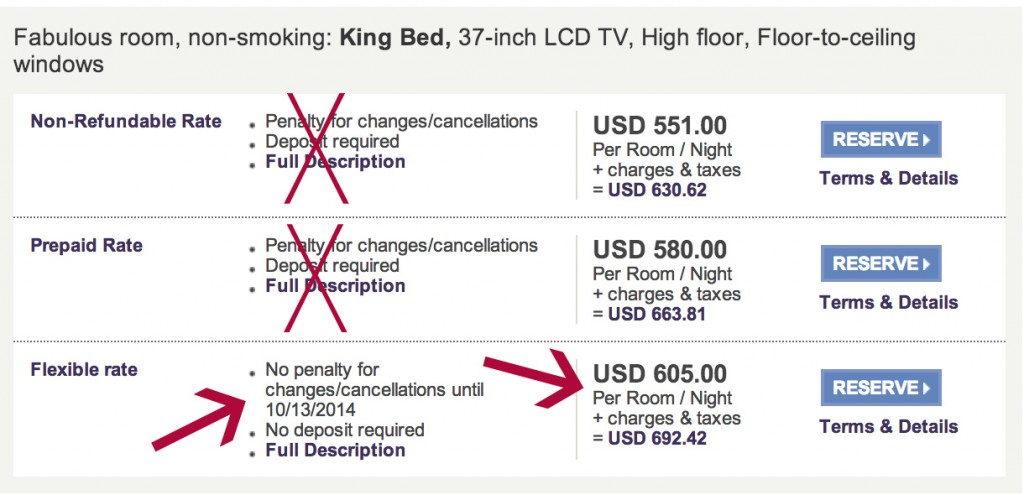 """Example: The first rate we could consider is the """"Flexible Rate"""" of $605 for this property"""